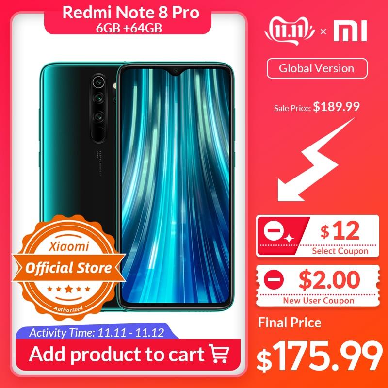 Globale Version Xiaomi Redmi Hinweis 8 Pro 6GB 64GB Handy 64MP Quad Kamera MTK Helio G90T Octa core Smartphone 4500mAh NFC