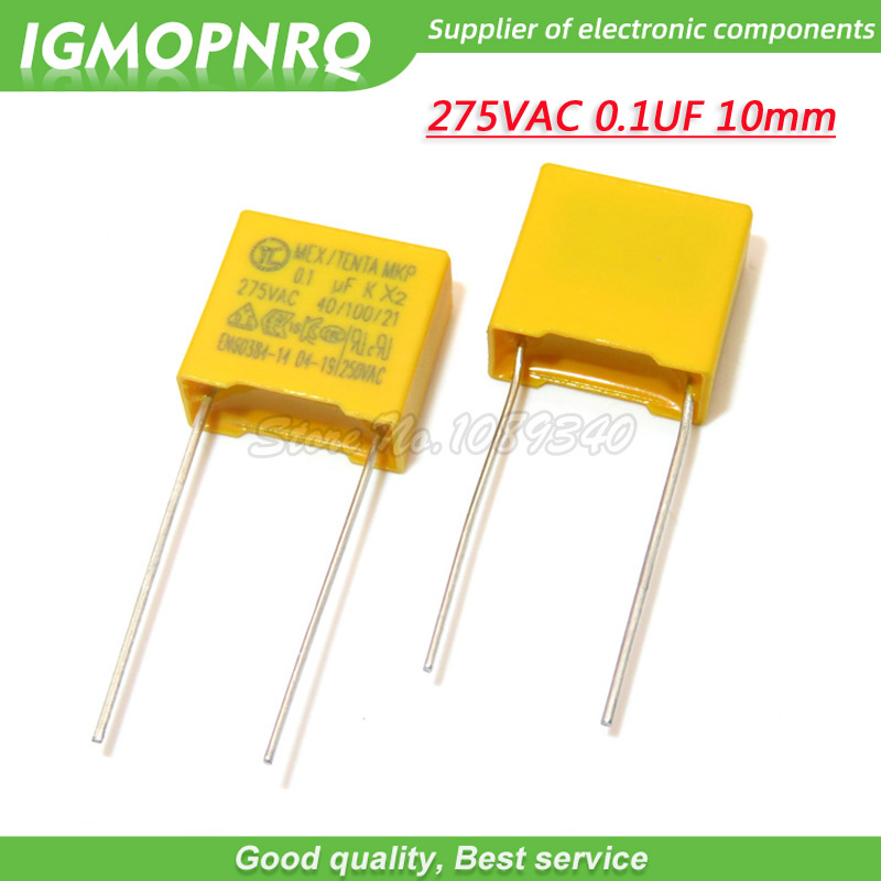 20pcs <font><b>100nF</b></font> <font><b>capacitor</b></font> X2 <font><b>capacitor</b></font> 275VAC Pitch 10mm X2 275V Polypropylene <font><b>film</b></font> <font><b>capacitor</b></font> 0.1uF image