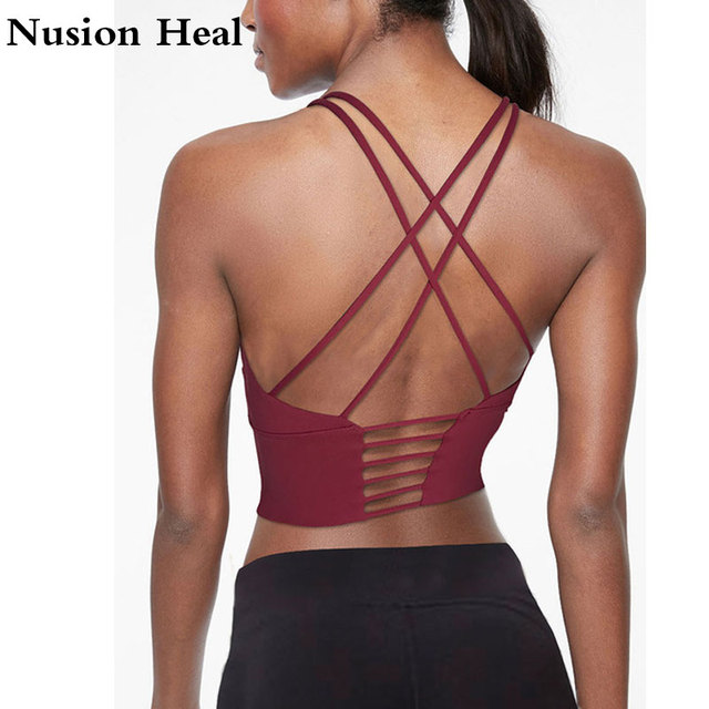 Women Sports Bra Tops High Impact for Fitness Yoga Running Pad Cropped Top SportsWear Tank Yoga Tops Sports Push Up Bra Women 4