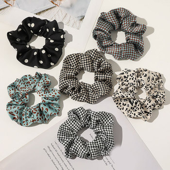 Houndstooth Hair Rope Ring Polka Dot Leopard Print Ponytail Holder Elastic Hair Band Vintage Hair Scrunchies Hair Accessories image