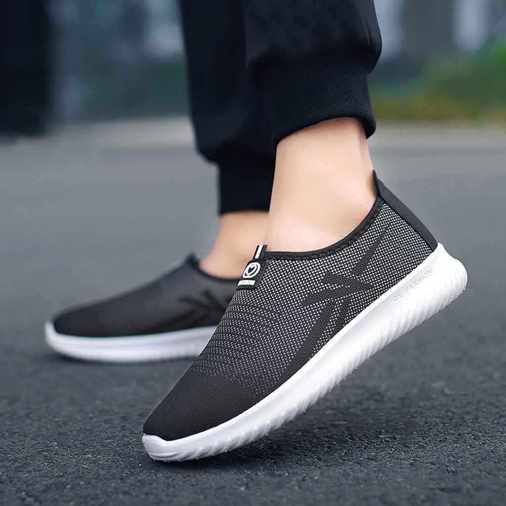 Ayakkabı erkek ayakkabısı Slip-On açık rahat ayakkabı nefes örgü nefes ayakkabı moda yürüyüş düz ayakkabı kadın