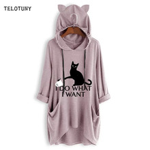 TELOTUNY Long Sleeve Hooded Women Blouse 2019 Fashion Cat Ear Printed With Pockets Causal Irregular Tops T-Shirt Blouse 19L0719(China)