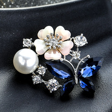 Retro Antique Gold Color Plated Crystal Rhinestones Flower Pins and Brooches for Women Party Bouquet Brooch