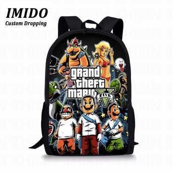 LALIN Super Mario GTA Kids School Bag Grand Theft Auto Print Backpacks For Teenage Boys Girls Game Girls Boys School Book Bags - DISCOUNT ITEM  30 OFF Luggage & Bags
