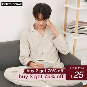 Pajama-Sets Home-Clothes Underwear Male Cotton for Men High-Quality Metersbonwe