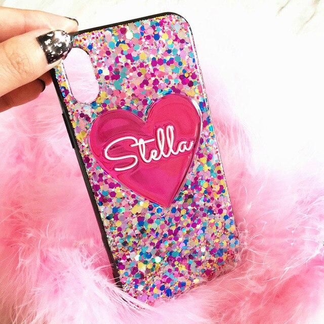 Iphone 11 Pro 7 8 artı XR XS MAX Samsung S20 Ultra S8 S9 S10 not 20 10 benzersiz kalp özel adı lazer Glitter telefon kılıfı