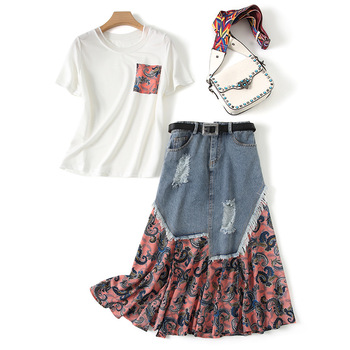 2 Piece Outfits for Women Fashion High Street T-shirt+patchwork Denim Skirts High Waist Ankle-Length Matching Sets for Women фото