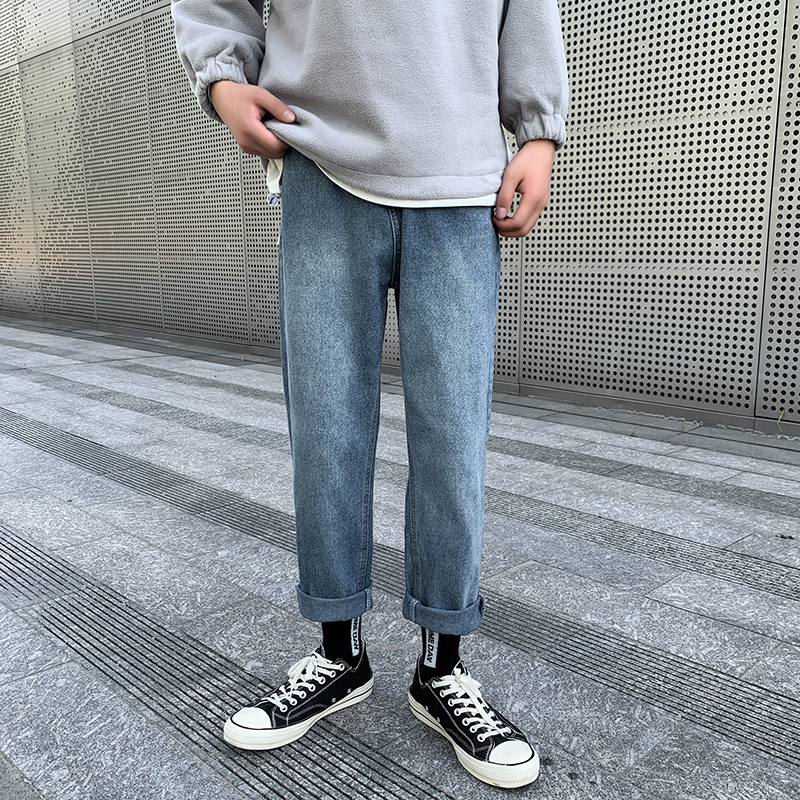 Straight Jeans Men's Fashion Washed Solid Color Casual Retro Jean Pants Men Streetwear Wild Loose Hip Hop Denim Trousers Mens