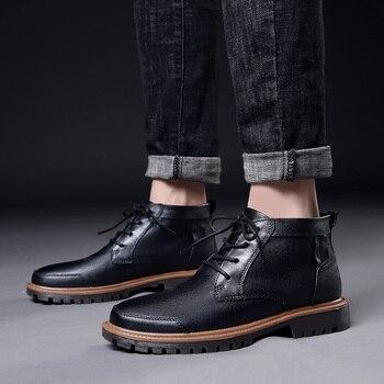 2019 Hot Mens Fur Boots Cowhide Ankle Boots Men Winter Warm Work Shoes Mens Luxury Brand Designer Men Outdoor Boot