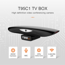 T95C1 8.0MP Camera TV BOX with MIC Android 9.0 Smart TV BOX RK3368 Octa Core 2GB 16GB 2.4&5G Dual WIFI 4K Youtube Media Player