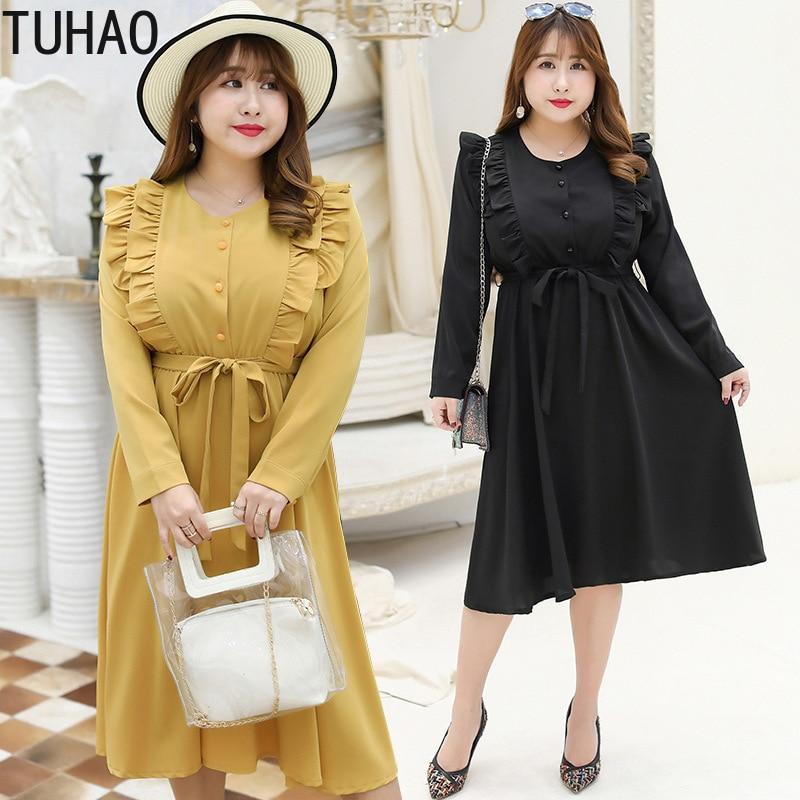 TUHAO1 2019 Elegant Lady Chiffon Dresses Plus Size 4XL 3XL 5XL Loose Femme Autumn Dress Lace Up Sweet Big Sizes Top Fashion HC94