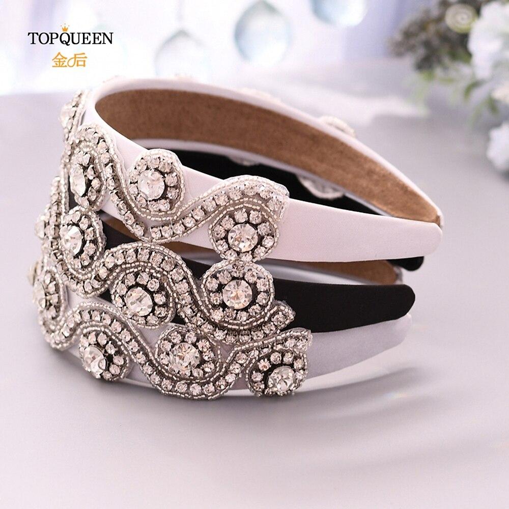 TOPQUEEN S10-FG Wedding Rhinestone Hair Accessories Bridal Tiara Headpieces Silver Rhinestone Headband Wedding Hair Jewelry