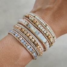 Amazonite mix 5 wrap pulseira, boho beadwork 316 caixa de aço inoxidável corrente unisex pulseira jóias para mulher navio da gota
