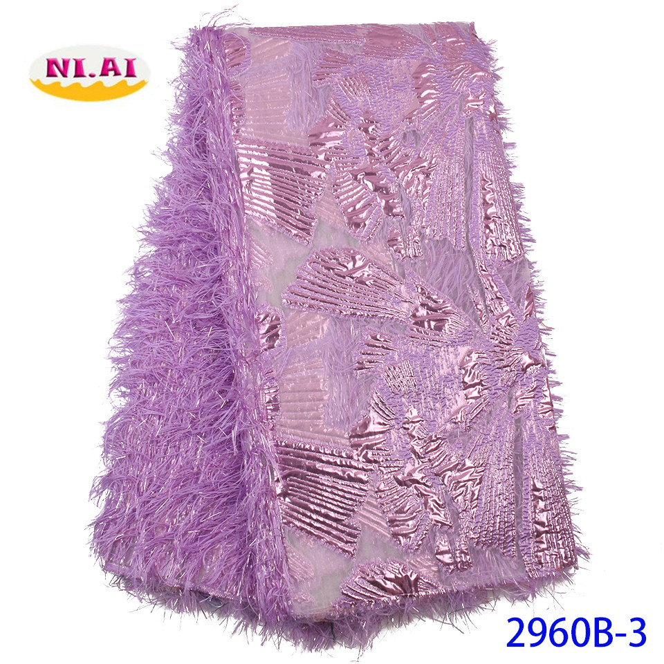 NIAI African Lace Fabric 2020 High Quality Lace Embroidered Brocade Lace French Lace Fabric For Nigeria Party Dress XY2960B-3