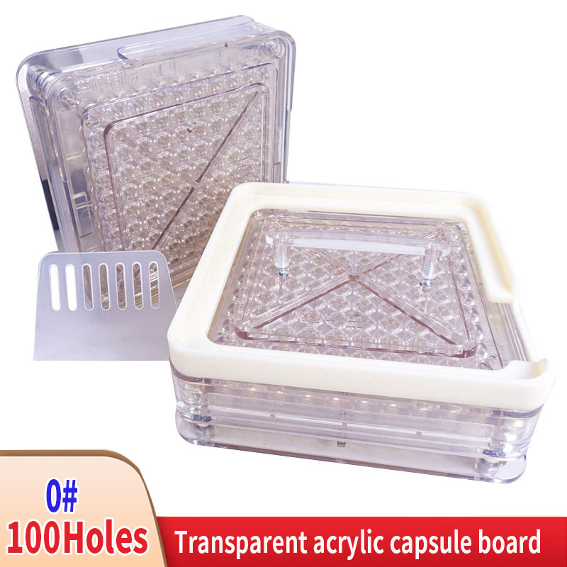 0# 100 Hole Manual Capsule Filling Machine Transparent Acrylic Capsule Plate Filler Filler Capsule Filling Plate