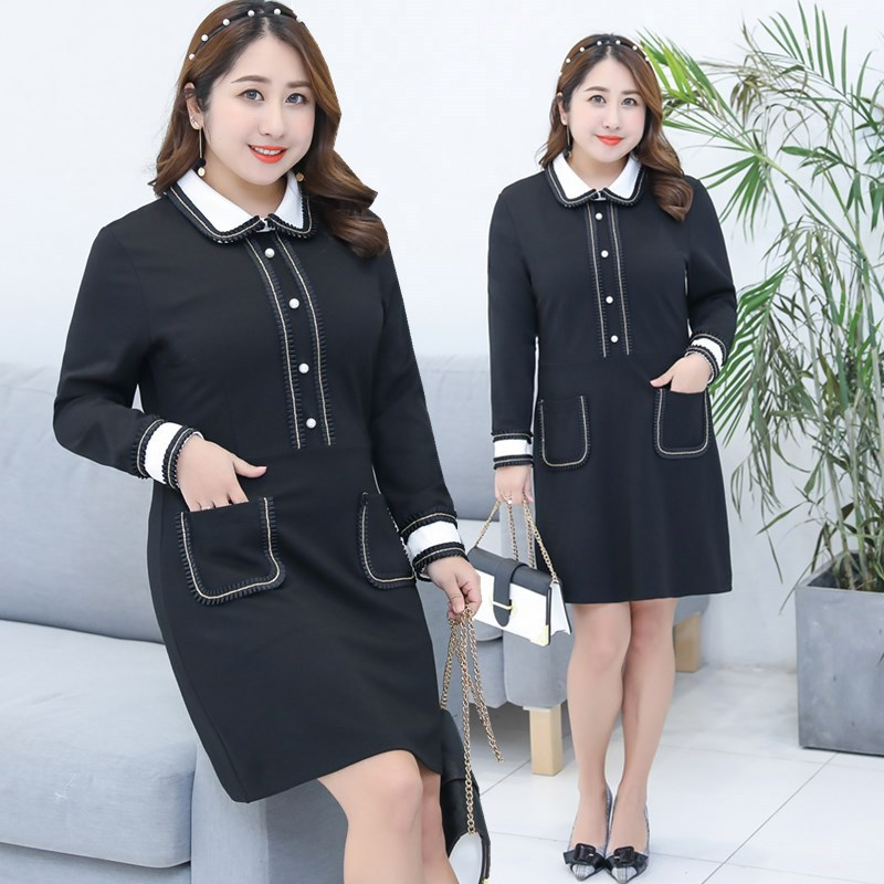 2018 Spring Clothing New Style Large GIRL'S Plus-sized WOMEN'S Dress Korean-style Western Style Slimming Peter Pan Collar Dress