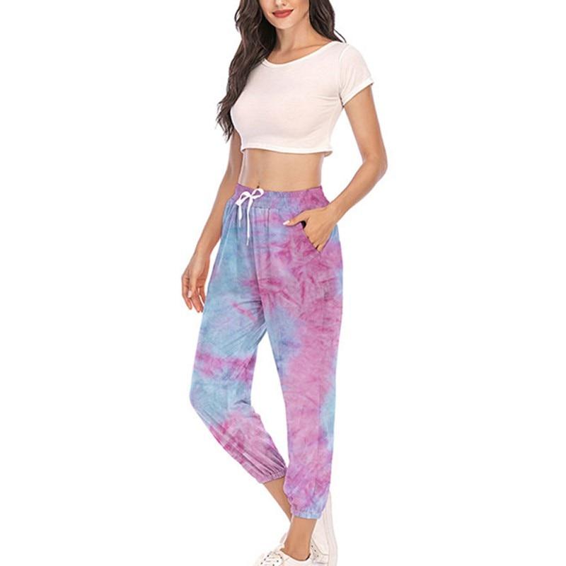 Women Casual Loose Long Trousers Elastic High Waist Pants Capris Joggers Streetwear 2020 Tie Dye Printed Sweatpants