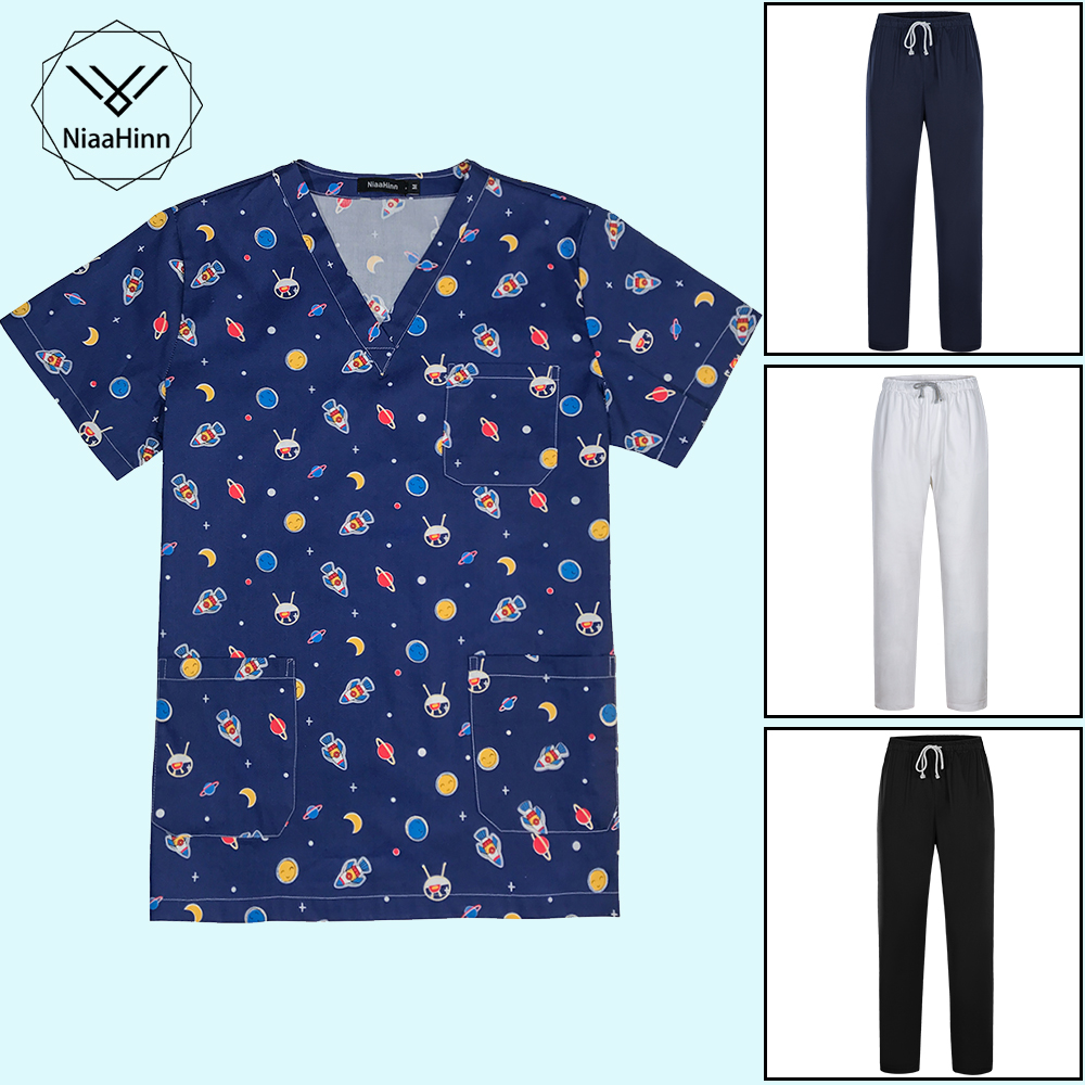 Medical Clothes Cartoon Print Nursing Uniforms Medical Set Clothing Dental Clinic Hospital Work Wear Surgical Suit Tops Pants