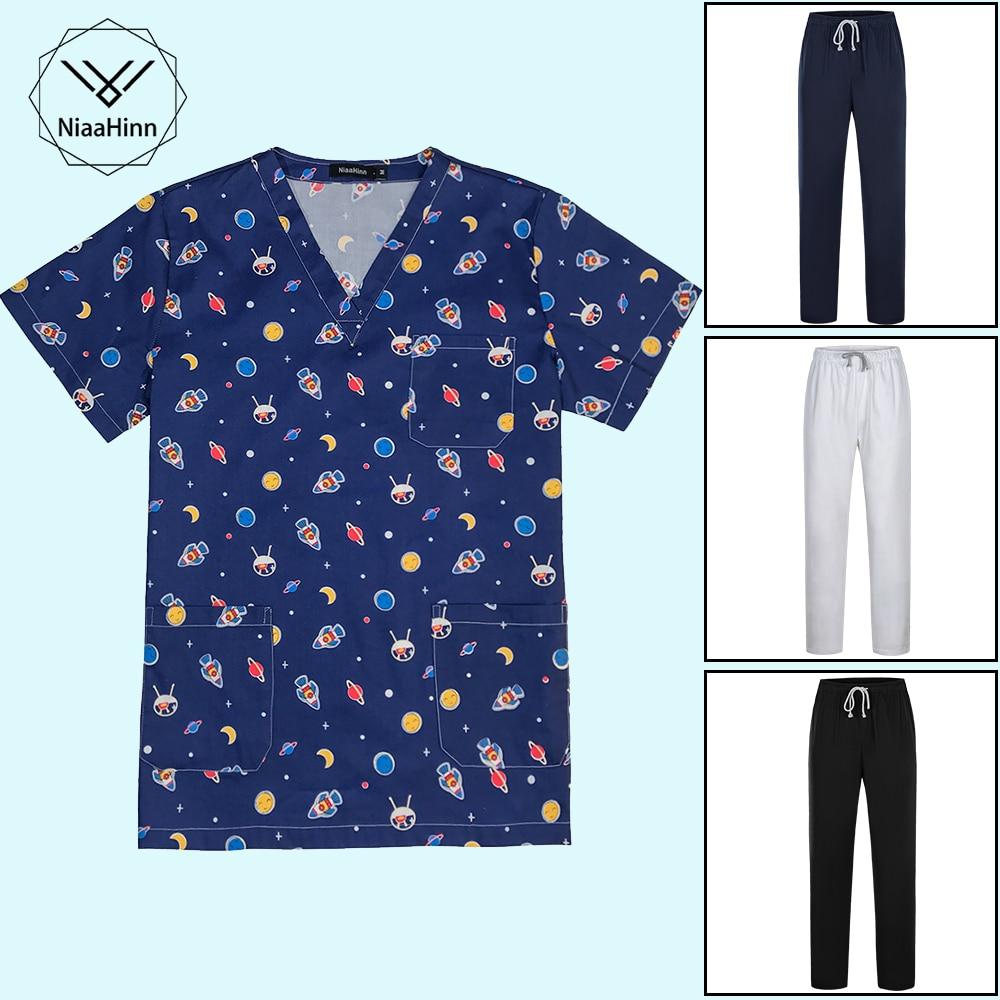 Medical Clothes Cartoon Print Nursing Uniforms Medical Set Clothing Dental Clinic Hospital Work Wear Surgical Suit Tops Pants