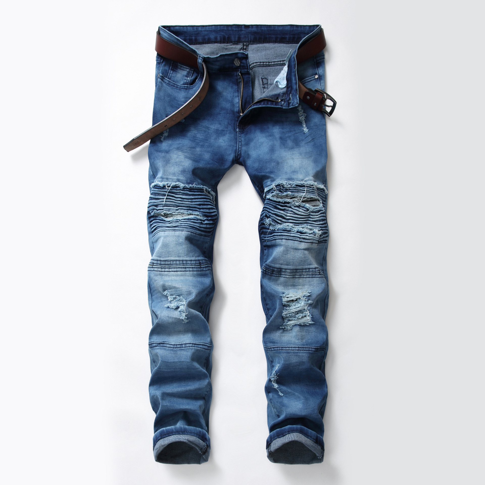 2019 Autumn And Winter New Style MEN'S Jeans Pleated Locomotive Blue Jeans Men's Pencil Pants Slim Fit Men's Trousers Fashion