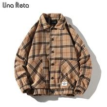 Una Reta Jacket Men Autumn Casual New Woolen plaid Coat Jackets Man Hip Hop Mens Vintage single breasted Outerwear Streetwear