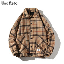 Una Reta Jas Mannen Herfst Casual Nieuwe Wollen plaid Jas Jassen Man Hip Hop Mens Vintage single breasted Bovenkleding Streetwear(China)
