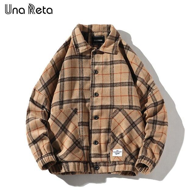 Мужская шерстяная клетчатая куртка Una Reta, повседневная винтажная однобортная куртка в стиле хип хоп, верхняя одежда на осень