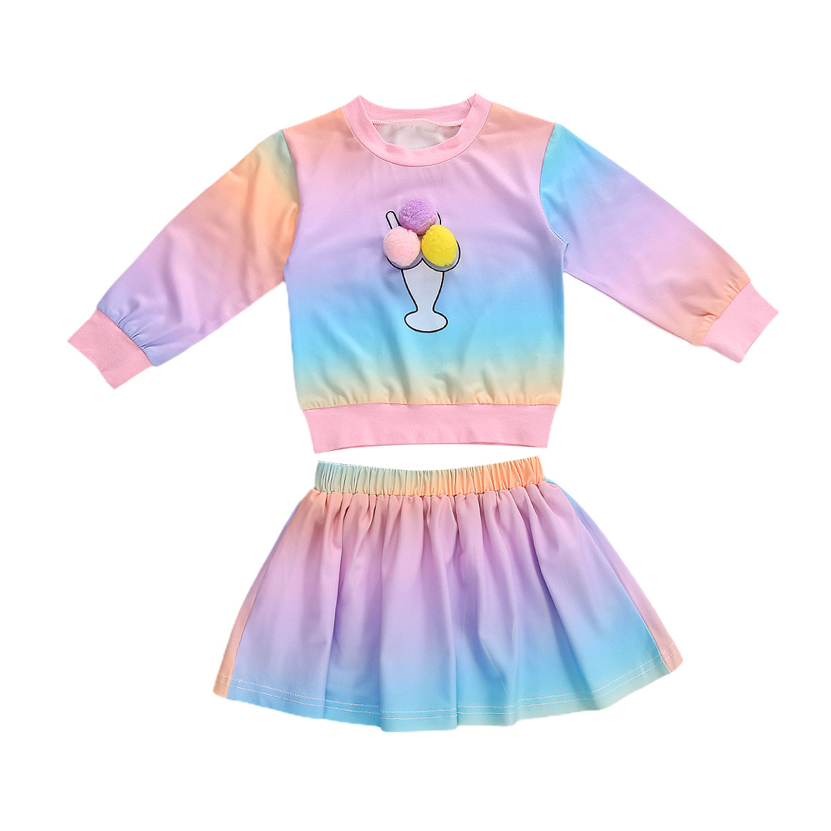 1-5Y Autumn Fashion Girls Clothing Sets Kids Baby Girls Ice Cream Gradient Print Sweatshirts Tops+A-line Skirts Casual Outfits
