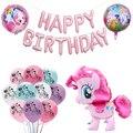 Мультфильма «Мой Маленький Пони» воздушный шарик из фольги в форме Розовая лошадка гелиевые латексные шары С Днем Рождения мультфильм живо...