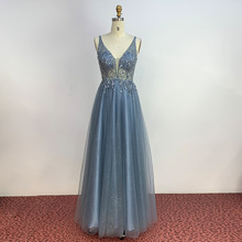 YQLNNE Simple Dusty Blue Long Prom Dresses Deep V Neck Tulle Crystal Beaded Formal Party Dress Backless