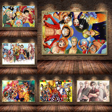 HD Cartoon One Piece Luffy Oil Painting On Canvas Posters And Prints Cuadros Anime Wall Art Pictures For Living Room Unframed canvas hd prints pictures wall art 5 pieces one piece monkey d luffy paintings anime poster living room decor modular framework
