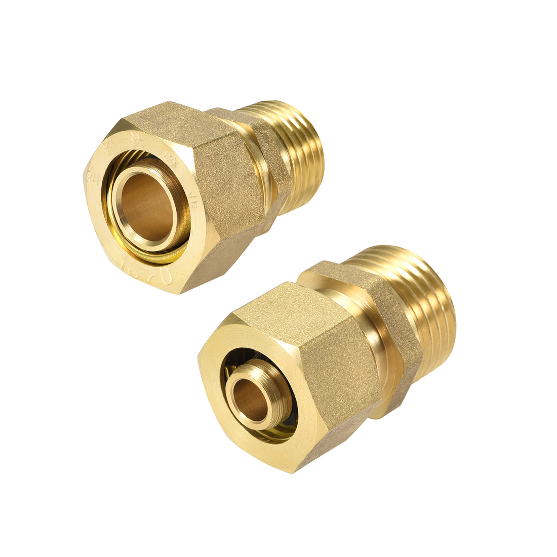 Uxcell 1-3pc G1/2 Male Brass Compression Tube Fitting Connector Adapter 14mm 18mm 20mm Tube OD Gold Tone For Oil Gas Ndustry