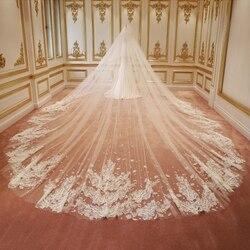 Кружевная свадебная вуаль, высокое качество, длина 3 м, индивидуальная свадебная вуаль, Мантилья, блестящий собор, ширина, блестки, блестящая...