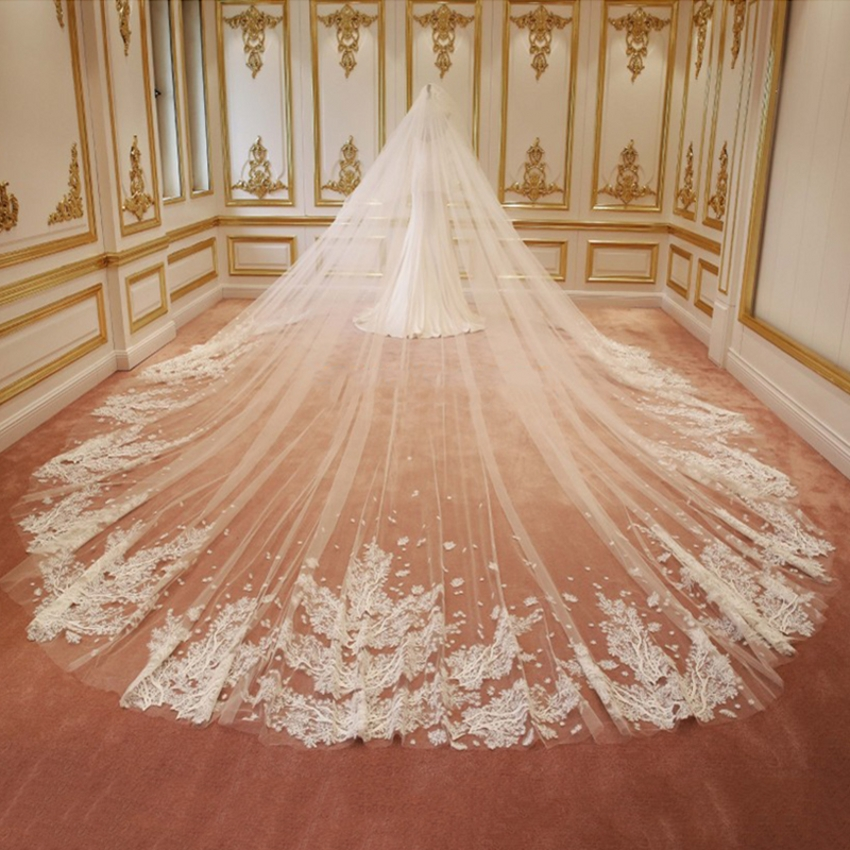 Lace Wedding Veils High Quality 3M Long Bridal Veil Custom Mantilla Shinny Cathedral Width Sequins Shinny Bride Veils V2044