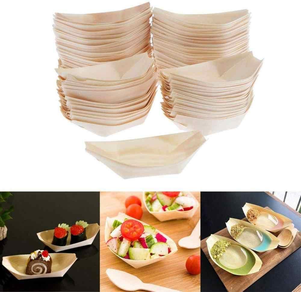 Suprimentos para casamento, suprimentos para festas, 130mm descartáveis para encomendar sushi/salada/sobremesa pinha barco de madeira, 50/pacote