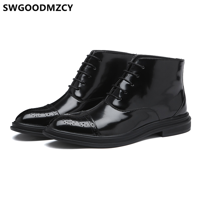 Leather Boots Men Military Shoes Mens Dress Boots Casual Coiffeur Italian Brand Brogue Shoes Men Ankle Boots Zapatos De Hombre