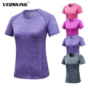 Damska szybkoschnąca koszulka do biegania oddychająca koszulka sportowa koszulka damska Fitness damska odzież Fitness damska koszulka gimnastyczna tanie i dobre opinie VEQSKING CN (pochodzenie) WOMEN summer spandex Pasuje prawda na wymiar weź swój normalny rozmiar Gray Pink Purple Rose red