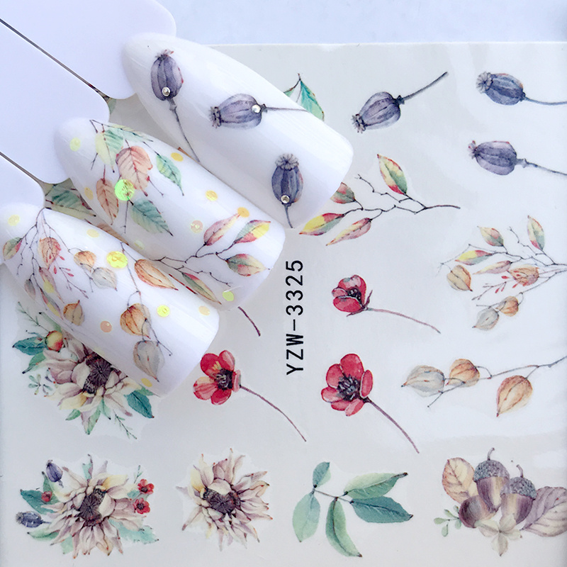 1 Sheet Watercolor Simple Floral Flower Nail Sticker Gel Wraps Decal Manicure Decor Christmas Water Transfer Slider Foil