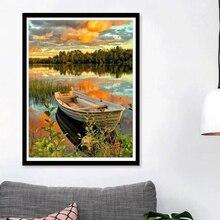 Взрывные Модели DIY алмазная живопись 5D Вышивка крестиком полная дрель на озере лодка лес пейзаж закат картины в спальню