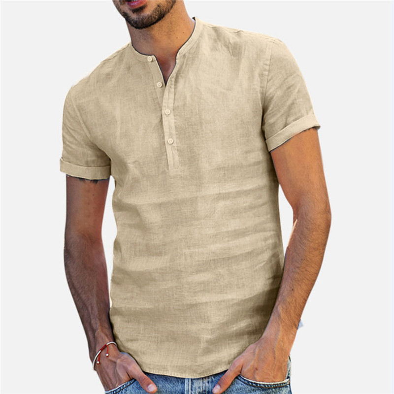Men Linen Shirts Short Sleeve Breathable Men's Baggy Casual Shirts Slim Fit Solid Cotton Shirts Mens Pullover Tops Blouse 2