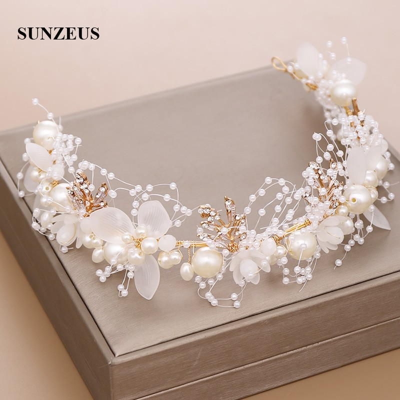 Beaded Gold Leaves Bridal Headband With Pearls Flowers Hand-made Wedding Head Accessory New 2019 SQ410