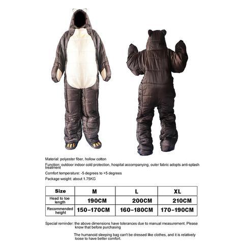 urso marrom em forma de bolsa dormir
