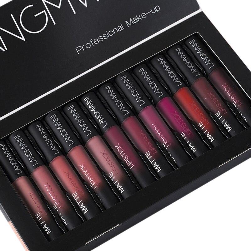 LANGMANNI 12pcs Liquid Lipsticks Set Waterproof Long Lasting Velvet Matte Lip Gloss Makeup Pigment Red Nude Lips Tint Cosmetics