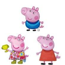 1 peça porco peggy porco george peppapig animal porco filme de alumínio balões de hélio crianças festa de aniversário decoração brinquedo presente balões