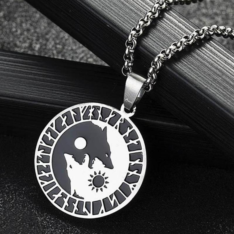 Men Unique Disc Pendant Necklace Stainless Steel Yin Yang Wolf Moon Sun Charm Necklaces Jewelry Best Gift for Friend