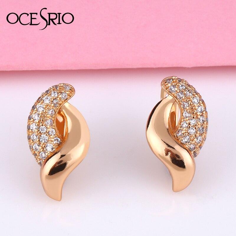 OCSERIO New Geometric Note Earrings Gold Earrings With Stones 585 Gold  Zircon Dangle Women Wedding 2020 Earring Ers-t28