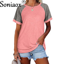 2021 Summer New Vintage Street Women T-Shirt Casual Contrast Color Splicing Short Sleeve O-Neck Tee Ladies Loose T-Shirts Tops