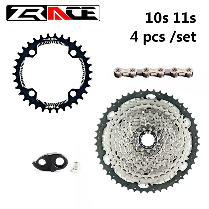 ZRACE 10S 11S MTB Bike Freewheel Groupset , 104BCD Chainring + 42T <font><b>46T</b></font> 50T 52T Bicycle Cassettes + 10 <font><b>11</b></font> Speed Chains Big Kit image
