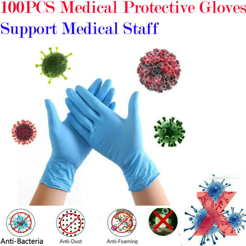 100PC Disposable Gloves Surgical Nitrile POWDER & LATEX FREE Non Sterile