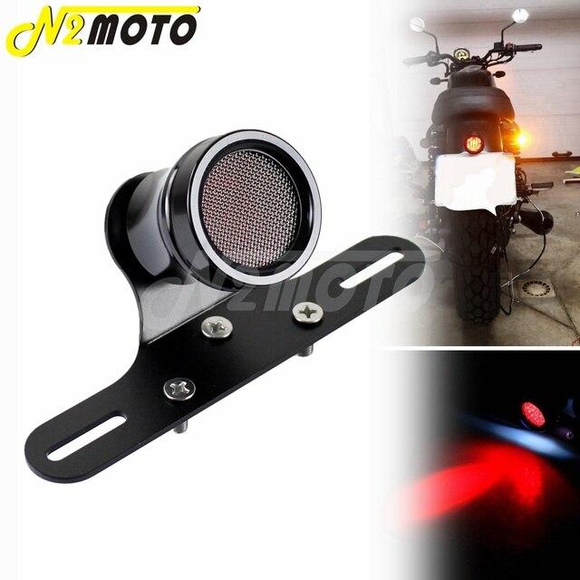 Plaque dimmatriculation du feu arrière de moto   12V, grille de lumière en maille pour Harley café Racer brouillette lampe rétro